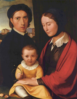 Johann Friedrich Overbeck. Autoportret with his wife and son Alfons