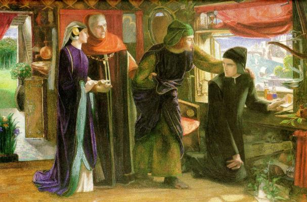 Данте Габриэль Россетти. Данте в первую годовщину смерти Беатриче (Данте рисует ангела)