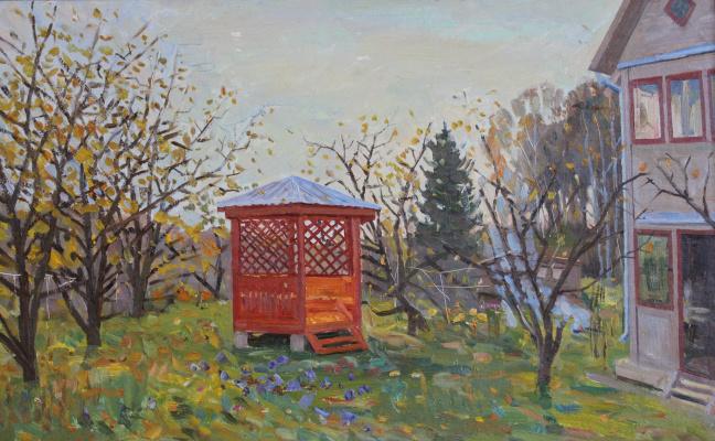 Eugene Alexandrovich Kazantsev. Red arbor in my garden
