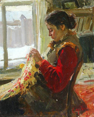 """""""Embroidering"""" Portrait of his wife."""