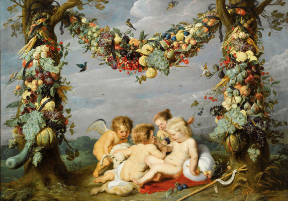 Peter Paul Rubens and France Snyders. Garland of fruit with raging babies