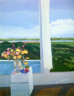 Джейн Фрейличер. Цветы у окна в вазе