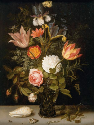 Baltazar van der Ast. Remer with a bouquet of flowers and a butterfly, shell and caterpillar