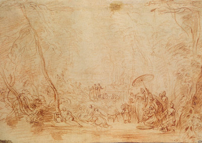 Antoine Watteau. The rescue of baby Moses from the water