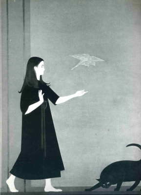 Will Barnet. Girl and black cat