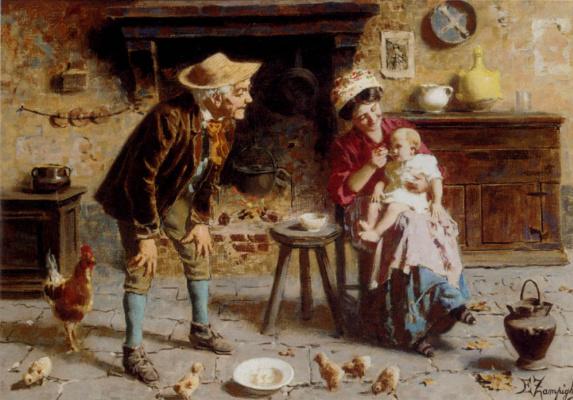 Эухенио Зампигхи. Мать кормит ребенка