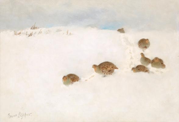Бруно Лильефорс. Куропатки на снегу
