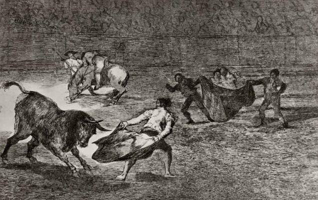 Франсиско Гойя. Серия Тавромахия, лист К: Тореро дразнит быка, повернувшись к нему спиной