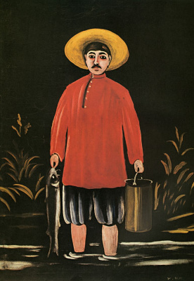 Niko Pirosmani (Pirosmanashvili). A fisherman in a red shirt