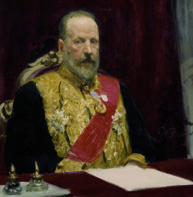 """Ilya Efimovich Repin. Portrait of Sergei Witte, Minister of Finance. A sketch for the painting """"Ceremonial meeting of the State Council on 7 may 1901"""""""