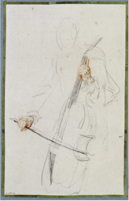 Study of a musician with a string instrument