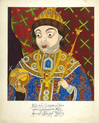Дмитрий Стахиевич Моор (Орлов). Шаржированный портрет царя Федора Алексеевича.  Ватман, перо