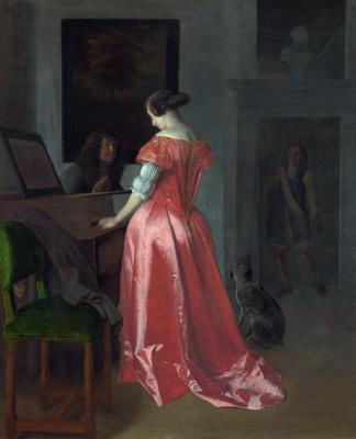 Иаков Очтервелт. Женщина, стоит возле клавесины, мужчина сидит рядом