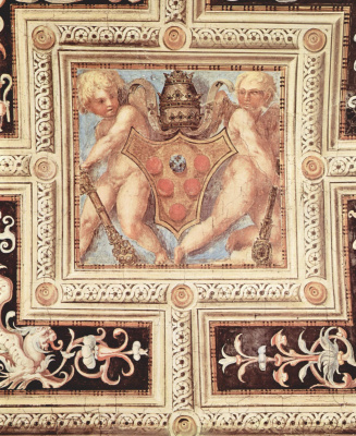 Jacopo Pontormo. The decor of the vault of the chapel of Pope Leo X in Santa Maria Novella in Florence. Putti with papal coat of arms