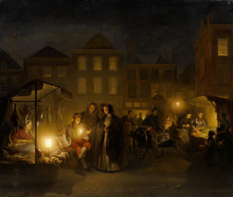 Петрус ван Шендель. Вечерняя торговля в Гааге. 1840