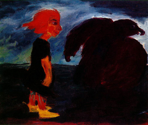 Emil Nolde. Child and large bird