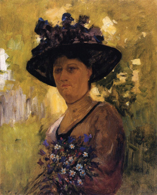 The governess of the children of the artist in a hat. (Portrait Of Carolina Prefer) . 1902-1906