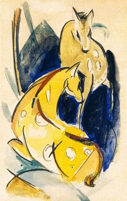 Франц Марк. Два желтых оленя