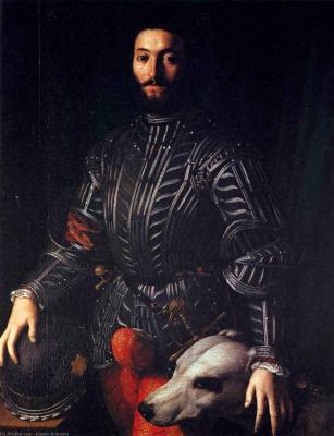 Agnolo Bronzino. Sir with a dog