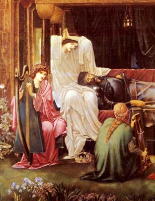 Edward Coley Burne-Jones. The Last Dream of King Arthur in Avalon (detail)