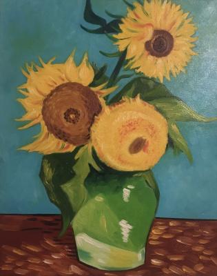 Alexander Dik. Drei Sonnenblumen in einer Vase