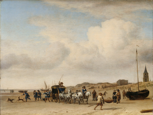 Adrian van de Velde. Coach on the beach in Scheveningen