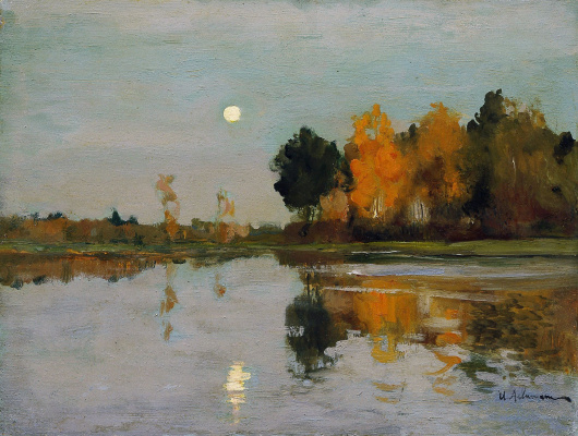 Isaac Levitan. Twilight. Moon. Sketch for the eponymous painting