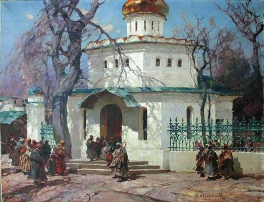 Степан Федорович Колесников (Одесский). Паломники у церкви