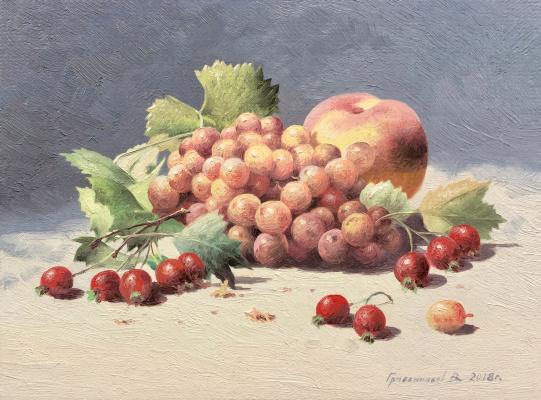 Vasily Ivanovich Gribennikov. Still life with grapes and peach