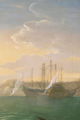 John Singleton Copley. Watson and the shark II. Fragment. Seascape