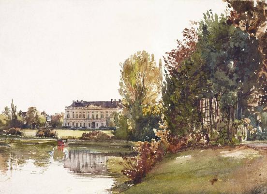 Rudolf Ritter von Alt. Ansicht von Schloss Eisgrub vor dem neugotischen Umbau