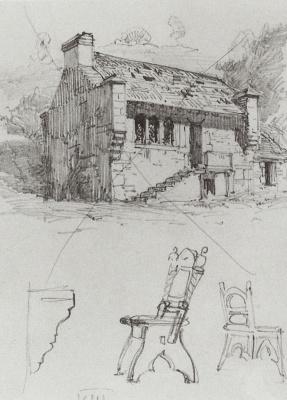 Vasily Dmitrievich Polenov. House. From traveling in Germany. Sketch