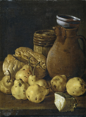 Луис Мелендес. Натюрморт с грушами, хлебом и кувшином