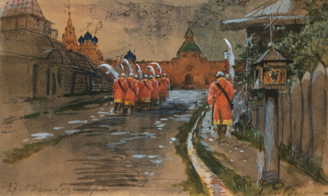 Andrei Petrovich Ryabushkin. Streletsky patrol at the Ilyinsky Gate in old Moscow. 1897
