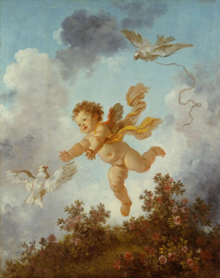 "Jean Honore Fragonard. Cupid chasing a dove. From series of paintings ""Love adventure"""