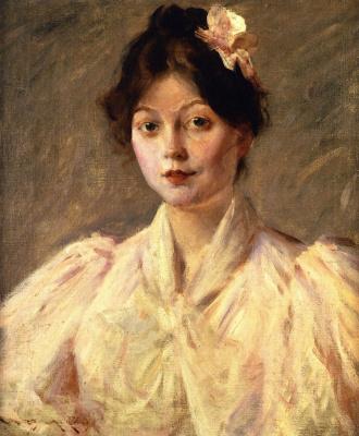 Уильям Меррит Чейз. Портрет девушки в розовом