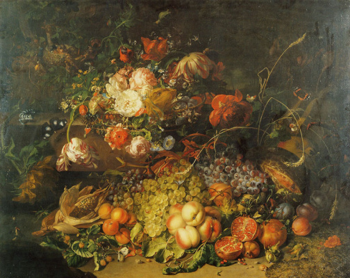 Rachelle Ruysch. Fruit and flowers in the forest