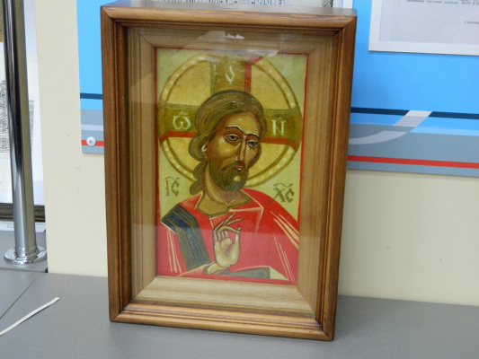 "Olga Evgenevna Klimova. Icon of the ""Risen Christ."" Leucas, tempera, gold. Diploma at the exhibition ""Apple Spas"", 2017, Krasnodar. Participated in the procession of the Cross during the re-consecration of the army church in Novocherkassk by His Holiness, Patriarch Kirill."