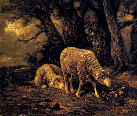 Charles-Emile Jacques. Sheep in the forest