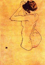 Egon Schiele. Seated Nude with a blue headband