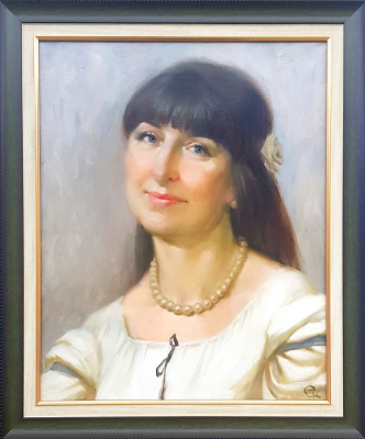 Ekaterina Blinova. Portrait of a Woman with a Pearl Necklace