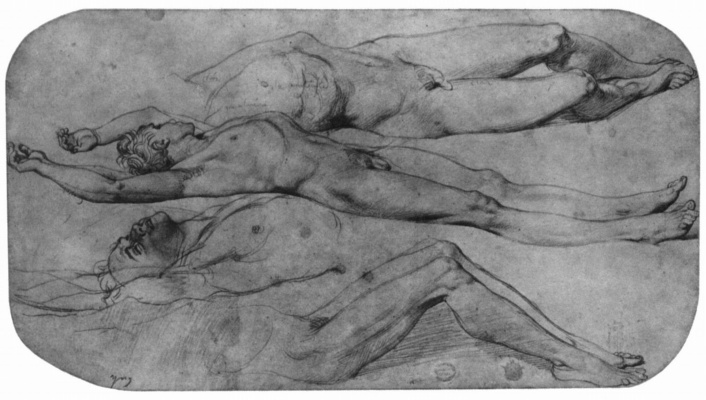 Jean Auguste Dominique Ingres. Sketches of a reclining Nude male figures+