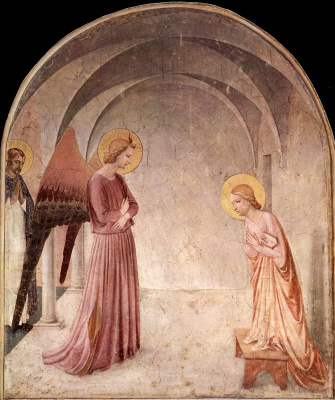 Fra Beato Angelico. Annunciation with sv. Dominic. Fresco of the Monastery of San Marco, Florence
