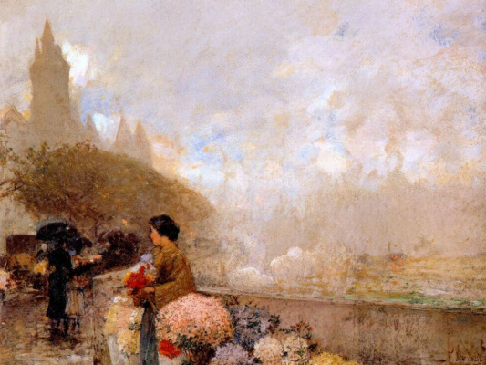 Childe Hassam. Girl with flowers near the Seine, Paris
