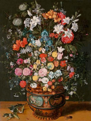 A large bouquet of lilies, irises, tulips, orchids and peonies in a vase, decorated with images of Amphitrite and Ceres