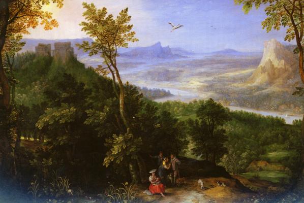 Jan Bruegel The Elder. An extensive landscape with figures
