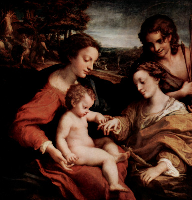 Antonio Correggio. Rest on the flight into Egypt with St. Francis