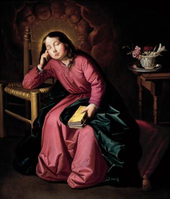 Francisco de Zurbaran. Asleep young virgin Mary