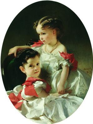 Ivan Kuzmich Makarov. Portrait of Maria Lvovna and Sophia Lvovna Perovsky. 1859