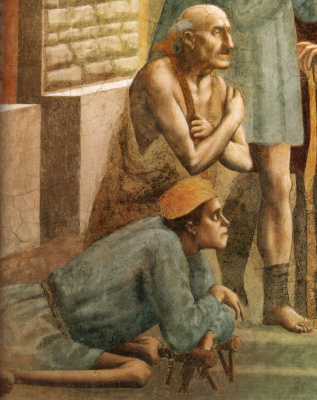 Tommaso Masaccio. Brancacci Chapel. Saint Peter heals the sick with his shadow. Fragment